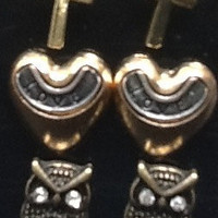 Earring Set Cross, Heart and Owl