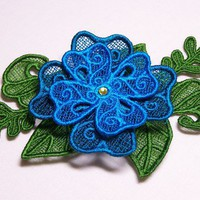 Lace Flower Hair Clip in Blue and Hunter Green