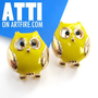 Bright Yellow Owl Bird Animal Cute Stud Earrings