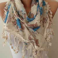 Blue and Beige Linen Scarf with Trim Edge - Vintage Style - Summer