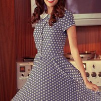 Blue Eyes Blue Chiffon Polka Dot Dress with Peter Pan Collar