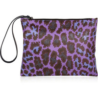 Christopher Kane|Leopard-print leather clutch|NET-A-PORTER.COM