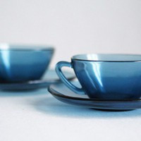 French 1960s Vereco Smoky Blue Cups and Saucers Set by frenchdip