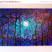 Sale 45 % off thru Aug. large-Commission-Large original oil painting  fireflies Blue Moon Summertime 36 x 24 by Vadal