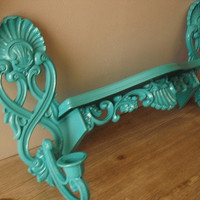 upcycled AQUA Syroco shelf with matching wall sconces ... turquoise blue Shabby chic Hollywood Regency