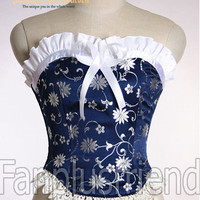 Gothic Wa Lolita Over Bust Steel Boned Satin Corset Top