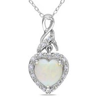 8.0mm Heart-Shaped Opal and Diamond Accent Swirl Pendant in Sterling Silver