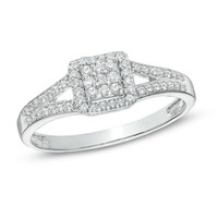1/4 CT. T.W. Diamond Square Frame Split Shank Promise Ring in Sterling Silver