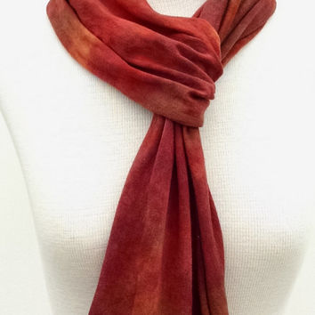 Bright Auburn Brown Bamboo Cotton Jersey Infinity Scarf, Hand Dyed, Neck Wrap