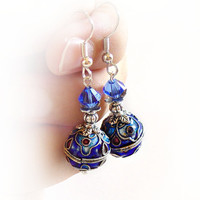 Blue dnagle earrings, cloisonne and swarovski, cloisonne jewelry