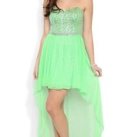 Junior Strapless High Low Prom Dress with Sparkly Bodice and Skirt