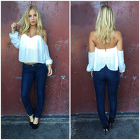 Jazzy Off Shoulder Blouse - WHITE