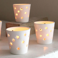 Stars Ceramic Tea Light Holder