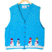 Snowmen Bright Blue Tacky Ugly Christmas Sweater Vest