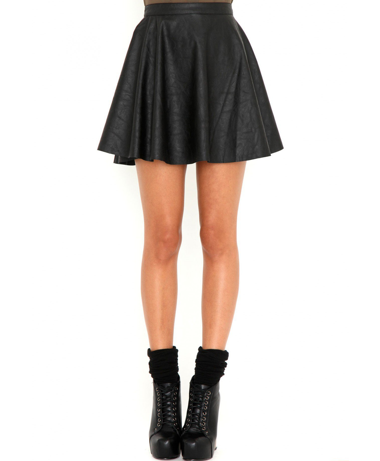 missguided emilie leather skater skirt from missguided