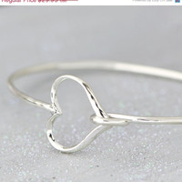 BLACK FRIDAY SALE Sterling Silver Heart Bangle Bracelet - Heart Bracelet - Sterling Silver Bracelet - Heart Jewelry - Sterling Bracelet -