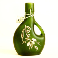 Green Oil Vinegar Bottle Pewter Olive Motif