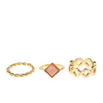Twisted, Stone, & Cut-Out Rings - 3 Pack - Pale Peach