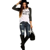 Promo-charcoal You Canx Sit With Us Top