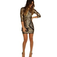 Gold Geometric Sequin Party Dress