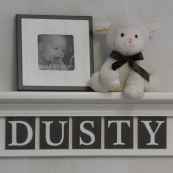 """Baby Nursery Decor Wood Shelves / Sign Personalized for DUSTY - 24"""" Linen (Off White)  Shelf - 5 Brown Wooden Letters - Custom Nursery Decor"""
