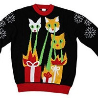 FunQi Men's Laser Cat-Zillas Ugly Christmas Sweater