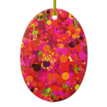 Red Green Gold & Pink Dots Modern Ornament
