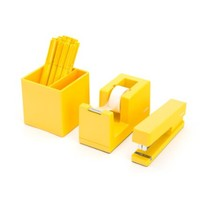 Desktop Starter Set, Yellow (Stapler, Tape Dispenser, Pens, Pen Cup)