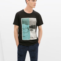 T-shirt with silk panel