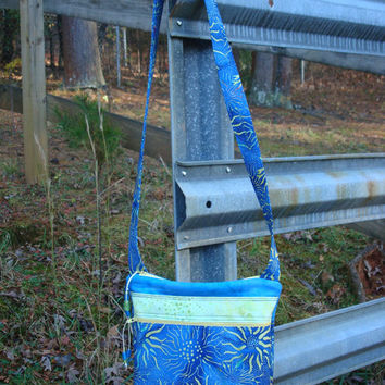 Blue yellow Green Sunflower Quilted Purse