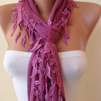 Purple Scarf with Purple Trim Edge Shaped Leaves - New