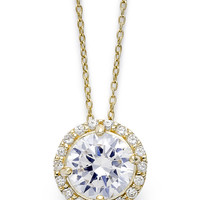 B. Brilliant 18k Gold over Sterling Silver Necklace, Cubic Zirconia Round Pave Pendant (2-1/5 ct. t.w.)