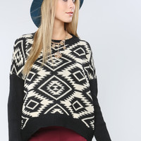 Geo Pattern Boxy Sweater