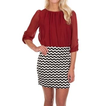 Ruby Rox Juniors Blouson Dress with Zig-Zag Skirt at Von Maur