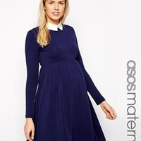 ASOS Maternity   ASOS Maternity Exclusive Skater Dress with Contrast Collar at ASOS