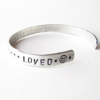 Hand Stamped Bracelet - aluminum bracelet with loved dots and hearts - friend gift gift for mom