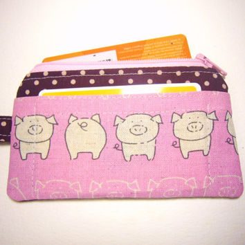 Pink Pig id1330808 handmade fabric zip purse for credit card, coin, thumbdrive, keys, work lanyard tag, jogging purse