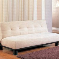 Futon Sofa Bed with Button Tufted Design in Black Vinyl Leather Finish by Home Life s259