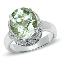 Large Oval Green Quartz Ring in Sterling Silver