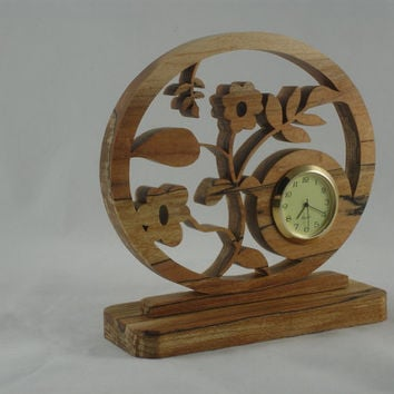 Floral Desk / Shelf Clock Handmade From Spalted Maple Wood With Quartz Clock Insert