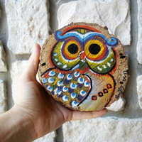 Funky Owl Painting on Wood / Whimsical Natural Woodland Creature / Shabby Chic Bohemian
