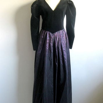 Vintage 1980s Velvet Dress LAURA ASHLEY Black Pleated Purple stripe Skirt 80s Evening Prom Dress 10