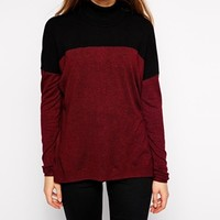 mbyM High Neck Long Sleeve Color Block Top