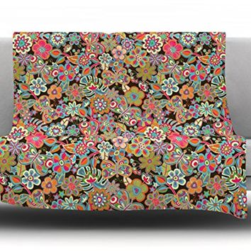 """Kess InHouse Julia Grifol """"My Butterflies and Flowers in Brown"""" Rainbow Floral Fleece Throw Blanket, 40 by 30-Inch"""