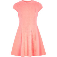 River Island Girls coral cable textured dress