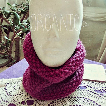 Organic Wool Boho Neck Warmer -  Bohemian Snood - Made to Order - Hipster Neck Warmer - Boho Winter Clothing