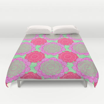 Mint, Magenta & Radiant Orchid Mandala Pattern Duvet Cover by Perrin Le Feuvre