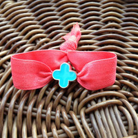 ONE Double Face Silver Plated Clover Flower Elastic Hair Ties (and Bracelets)