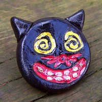 Halloween Black Cat Rustic Vintage Style Charm Brooch Pin