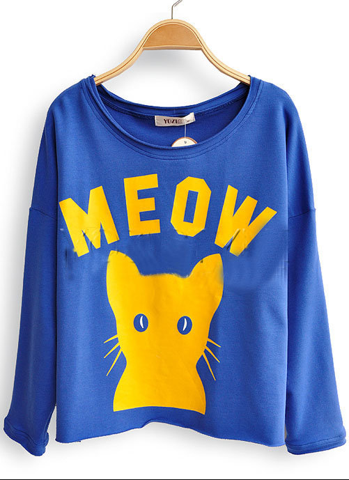 Royal Blue Long Sleeve MEOW Cat Print Scoop Neck Sweatshirt - Sheinside.com